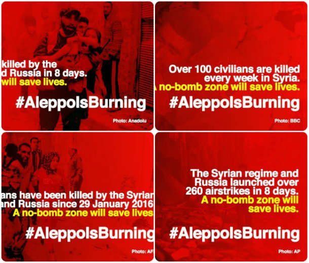 collage aleppo burning