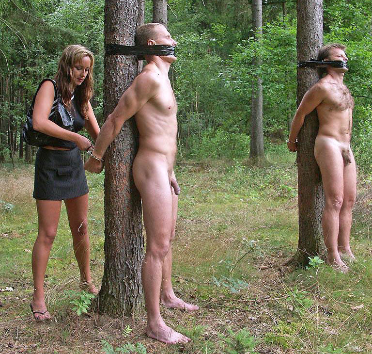 topless in the pillory