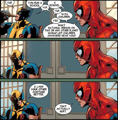Wolverine e Aranha discutem a escola