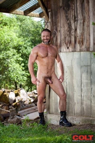 Hairy, bearded gay porn star Dirk Caber.