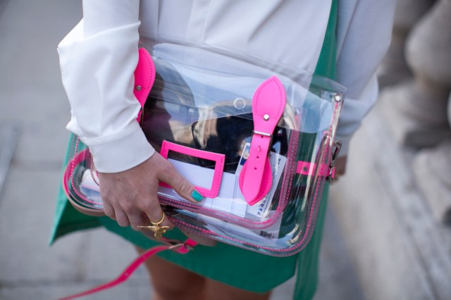 topshop:  A transparent clutch is a clear choice for SS13. Just make sure your purse doesn't clash with your outfit!