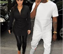 Kanye West Spotted Out In The All White Air Yeezy's With Kim K