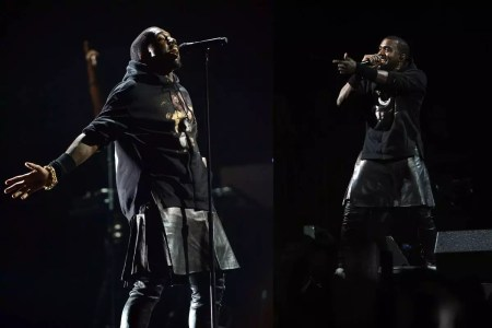Kanye West wearing a Givvenchy leather skirt.