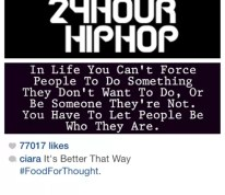 Ciara, who has not been spotted with Future once since the birth of their baby and who has also not been wearing her engagement ring, dropped a cryptic ass post about not being able to force people to do something they don't want to do or be someone they're not.