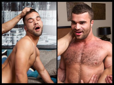 Scruffy gay porn stars compete in a battle of facial expressions.