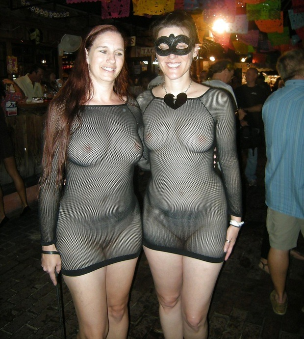embarrassed wife in see through
