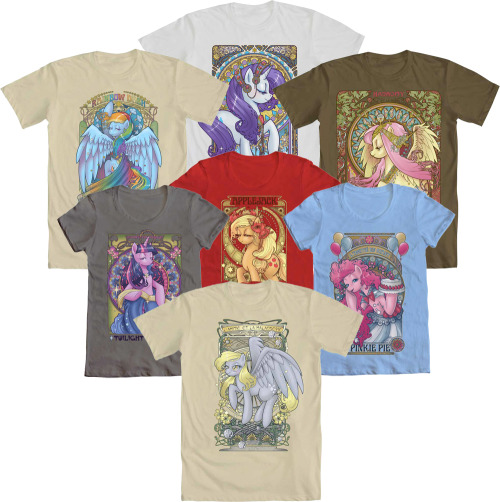 WE LOVE FINE WEDNESDAY IS FULL OF PRETTY PONIES!<br /> And now that Hezaa's nouveau My Little Pony designs total lucky seven, we are doing one of our best Wednesday giveaways yet! One lucky winner will receive their choice of ANY of the seven MLP nouveau designs, in men's or women's style!<br /> Reblog this post and enter to WIN!
