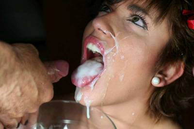 coed mouth full of cum