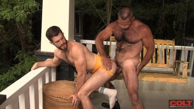 Trent Locke, yellow jockstrap, Fur Mountain, gay porn