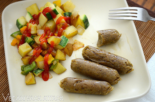 """Maple Seitan Sausages with Squash Potato Hash<br />My friends, I have something super awesome for you today! I did a guest blog on Clean Up Eat Up for Andrea (who's newly vegetarian, aspiring to be vegan ;]), and I can't wait to share it with you all. Here is a great way to speed up the cooking time AND get """"realistic"""" looking, delicious seitan sausages. You can click on the picture to be taken to the step by step process with picture and recipe. Here's my intro to the recipe:<br />This meal, for me, has a familiar feeling of being home on a Sunday morning with family and the smells and sights of it remind me of many breakfasts I had as a child. What's different here is that it's a much healthier alternative and a compassionate, meat-free & dairy-free meal! I took inspiration from two different seitan sausage recipes, one from Post Punk Kitchen and another from Vegan for the People, the combination of different spices from each one really made this a terrific sausage; not to mention, my non-vegan boyfriend/family loved them!</p><p>You need these in your life, really! :D"""