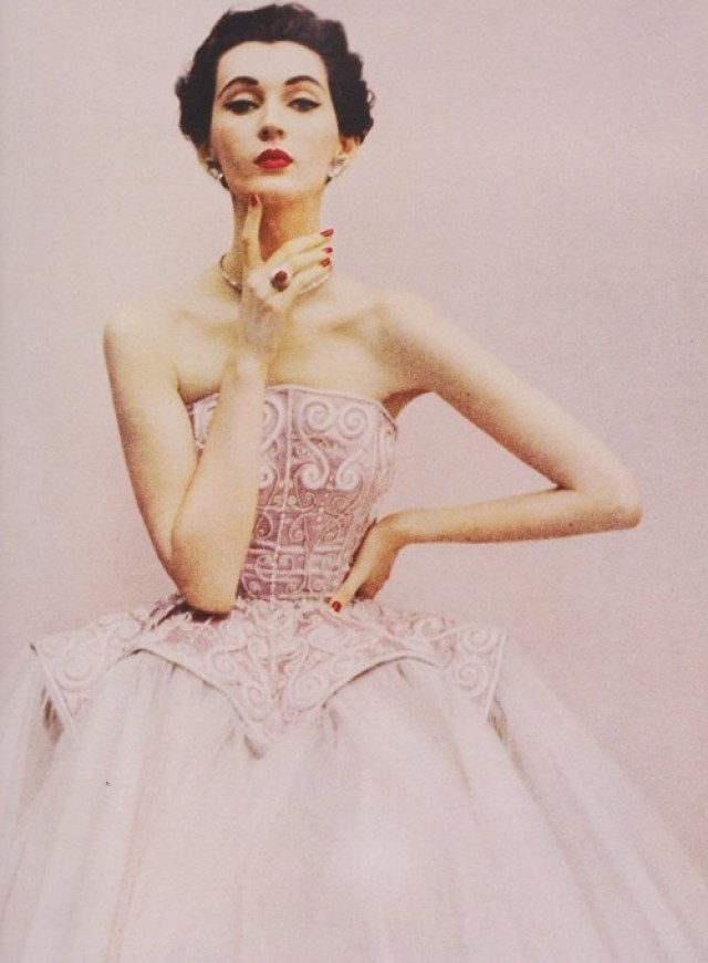 Harper's Bazaar, December 1950Photographer: Richard AvedonModel: DovimaDress by Balenciaga