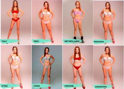 世界18か国 女性の理想体型の違い<同一モデルのフォトショ加工画像>おまえらどの体型がタイプ?