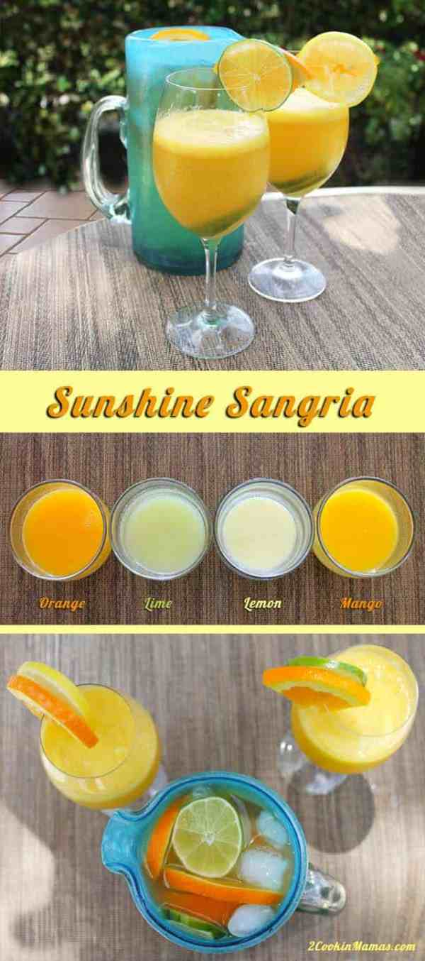 Sunshine Sangria | 2CookinMamas A deliciously fresh blend of orange, lemon, lime and mango that is perfect for summer!