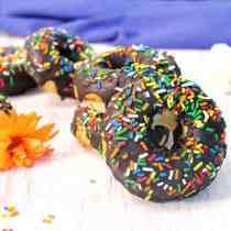 Gluten free Vanilla Doughnuts with Chocolate Glaze square