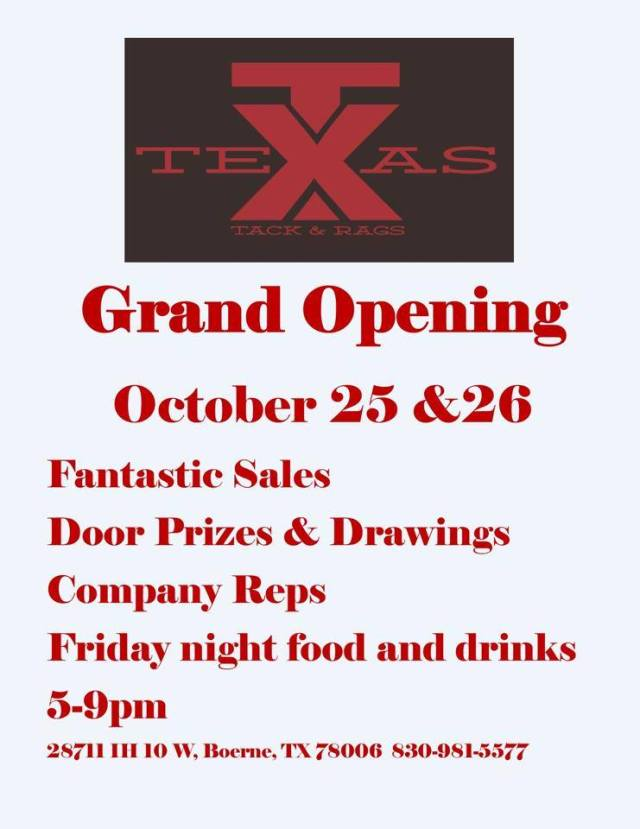 Texas Tack and Rags Grand Opening Flyer