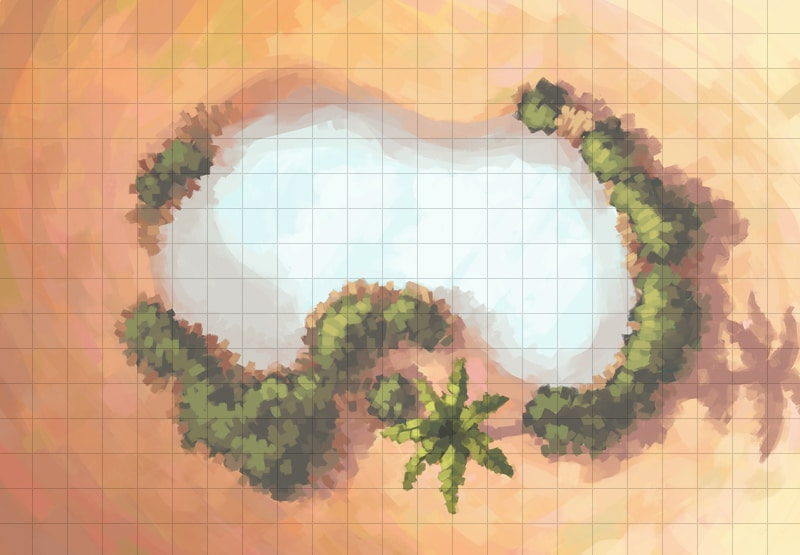 Desert Oasis Battle Map, Square Grid