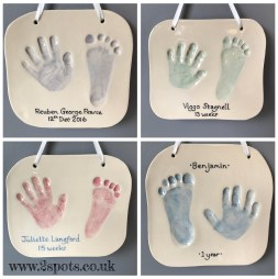 Clay hand and footprints