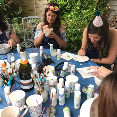 Hen Party painting in progress