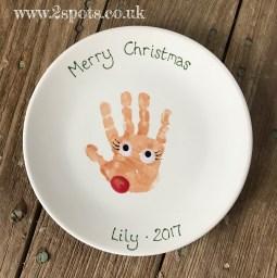 Lady Reindeer Handprint Plate