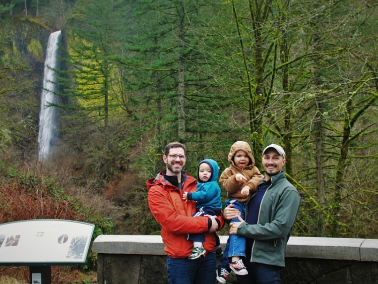 Taylor Family at Latourell Falls Columbia Gorge Oregon