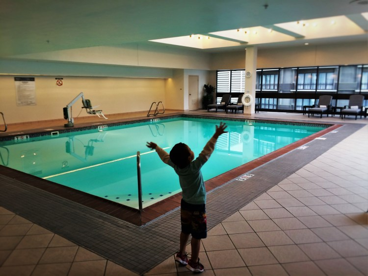 LittleMan excited for the swimming pool at Westin Seattle 1