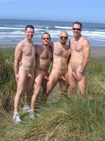 naked men erect in beach