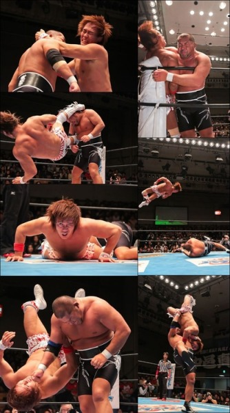 Tetsuya Naito, Hiroshi Tanahashi & Hirooki Goto vs. Tomohiro Ishii, Shinsuke Nakamura & Kazuchika Okada (NJPW Road To New Beginning, 2/2/2014) I thought this match was excellent (I had it at around ****¼), everyone involved looked really great and once again, Tetsuya Naito and Tomohiro Ishii kept the action moving with their fiery exchanges. These two have been tearing things up on pretty much every New Japan card since the Jan 5th Korakuen show & as it stands now, of all the matches set for The New Beginning double header, their NEVER Title bout is the one I'm looking forward to the most. It's a new, exciting feud on a tour filled with rematches, something NJPW seem very content to put on of late. As excellent as Tanahashi & Shinsuke's encounters almost always are, post WK8, I just can't muster much enthusiasm for another so soon & I must admit that I've never really been completely blown away by any of Okada/Goto's one-on-one matches (I don't think they've had a singles match together over ****, which may seem churlish, but given the high standard we've come to expect from both men, it's just slightly disappointing). In my opinion, Naito & Ishii could very well steal the show in Osaka.  NDT