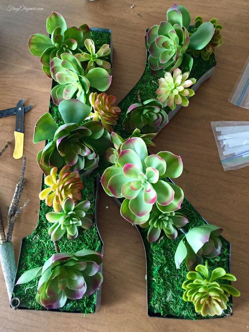 Succulent Letter Decor | FrugElegance | www.frugelegance.com
