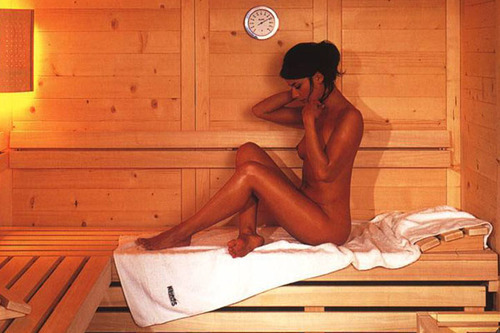 a woman in sauna
