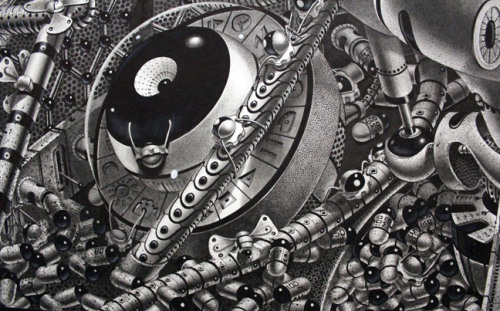 """littlelimpstiff14u2:  Samuel Gomez Reveals New Largescale Drawings """"Decrypted Savants"""" & """"Oasis"""" New york-based Dominican artist Samuel Gomez (first featured here) creates enormous detailed renderings with a steam-punk aesthetic. Using graphite and ink, Gomez's work offers a glimpse into a mysterious dystopian society dominated by machinery. His drawings are particularly well known for their impressive larger than life size, with some pieces measuring up to 18 feet long. His latest pieces, titled """"Decrypted Savants"""" and """"Oasis"""" will be revealed on July 31st at Mike Wright Gallery in Denver. Measuring at 6×4 feet and 3×9 feet respectively, together the pieces envision our future as an industrial wasteland. In """"Decrypted Savants,"""" a face can be made out of the machine's intricate parts, as if it has taken on a life of its own. At the center of """"Oasis"""" is a giant heart pumped by mechanical tubes, serving as a warning to control our industry before we succumb to it. Gomez says, """"I question a world where all events and affairs seem systematic and guided, yet, without a clear compass on the horizon, it's just chaos.Hi-FructoseFacebookTumblr"""