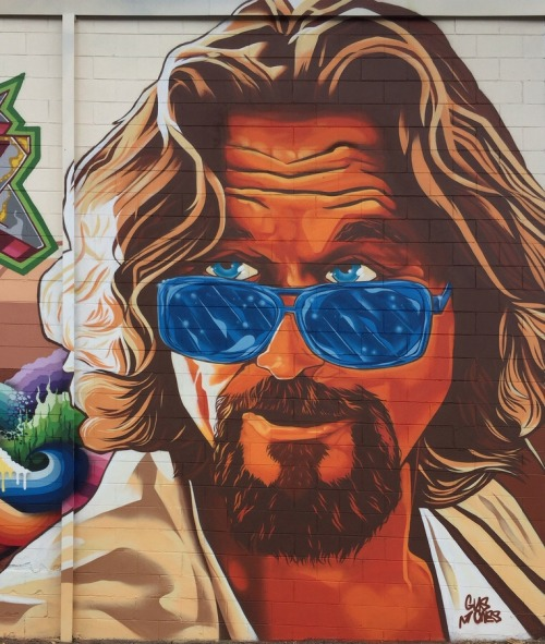 streetartglobal:  The Big Lebowski by @guscutty in Asheville (http://globalstreetart.com/guscutty).
