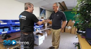 Michael Kintner (Left), Jamie Bowen (Right) Discussing the Hero Bender Tester