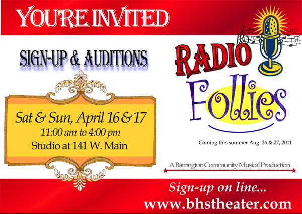 Community Follies Auditions in Barrington, Illinois