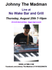 Live Music at No Wake Bar and Grill 8/25 @ No Wake Bar and Grill |  |  |