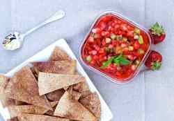 Delicious Strawberry Salsa with Kiwi served with cinnamon sugar pita chips. Makes for the perfect BBQ appetizer or dessert. | 365 Days of Easy Recipes