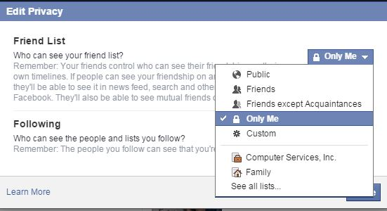 Facebook - Limiting who can see your friends.