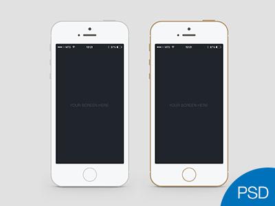 Flat iPhone 5S PSD Mockup PSD