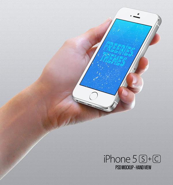 Apple iPhone 5S, 5C, Mockup Hand View PSD