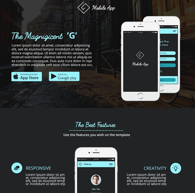 G-App Free Landing Page Template