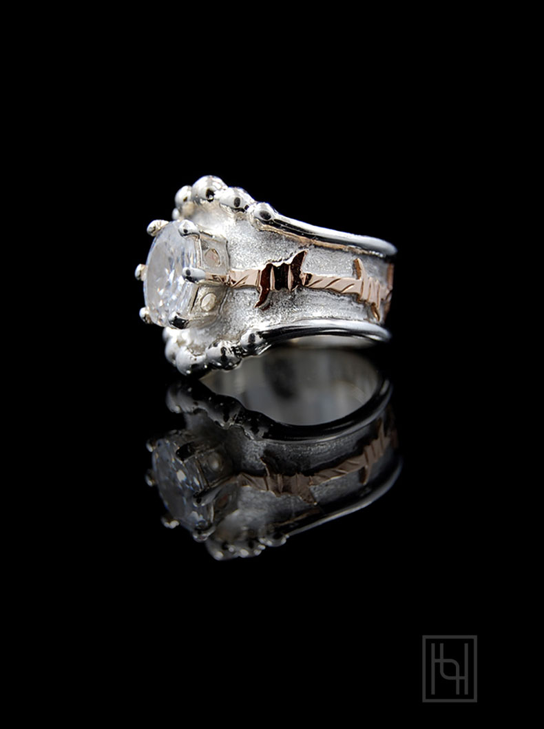 rings western wedding bands Barbed Wire Oval Crystal Ring