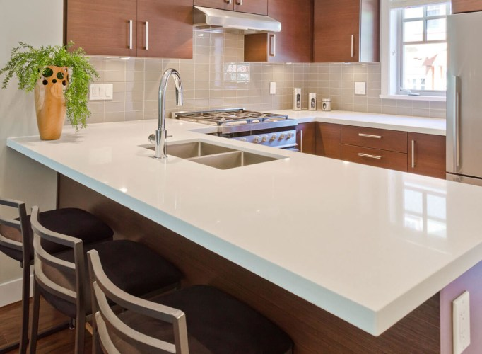 kitchen design gallery quartz kitchen countertops Arctic White Quartz Kitchen Countertop 2