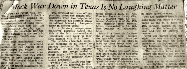 Mock War in Texas- newspaper article from 1952
