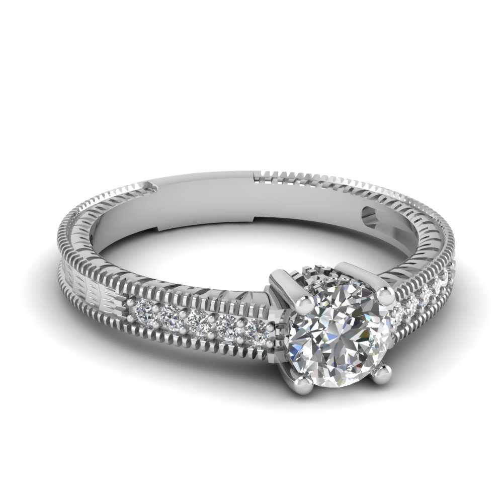 rings round diamond wedding rings Delicacy engagement ring in White Gold set with a 1ct round diamond by 77 Diamonds