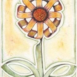 "Calligraphic Flower 7"" x 9.5"""
