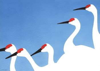 "Cranes in 3 Colors #2 14"" x 10"""