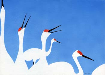 "Cranes in 3 Colors #4 14"" x 10"""