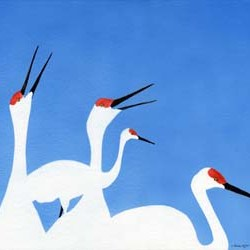 "Cranes in 3 Colors #4 14"" x 10"""