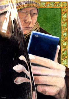 "Evita and the Iphone 11"" x 16"""
