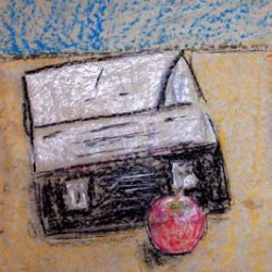 """Lunch Box and Apple 6"""" x 8"""""""
