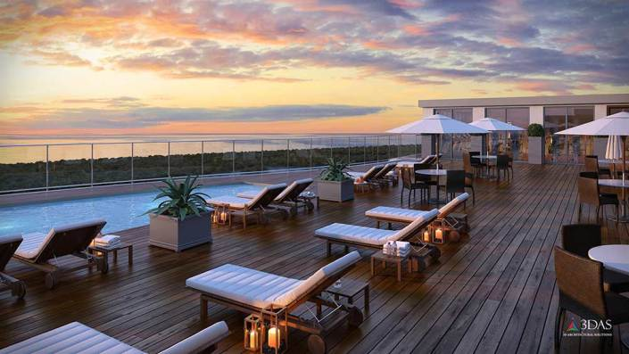 (Lowres) Kalea Bay Rooftop Sunset 3D Rendering (Naples, Florida)